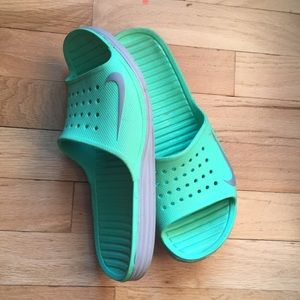 Nike Shoes - Unisex NIKE Neon Green Slides